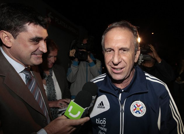 Paraguay's head coach Pelusso arrives for a news conference at Centenario stadium in Montevideo