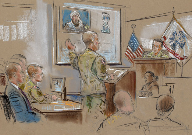 In this courtroom sketch, Army Pfc. Bradley Manning, second from left, and his attorney, David Coombs, far left, listen as a member of the prosecution, Capt. Ashden Fein, center, presents his closing