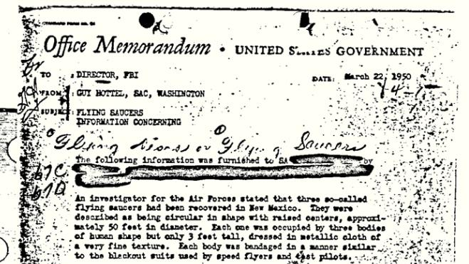 """This 1950 document released by the FBI under the Freedom of Information and Privacy Acts Section, shows a Federal Bureau of Investigation report of """"flying saucers"""" in New Mexico sent to then-Director J. Edgar Hoover in 1950. The document has become the FBI's most popular file in the bureau's electronic reading room. (AP Photo/FBI)"""