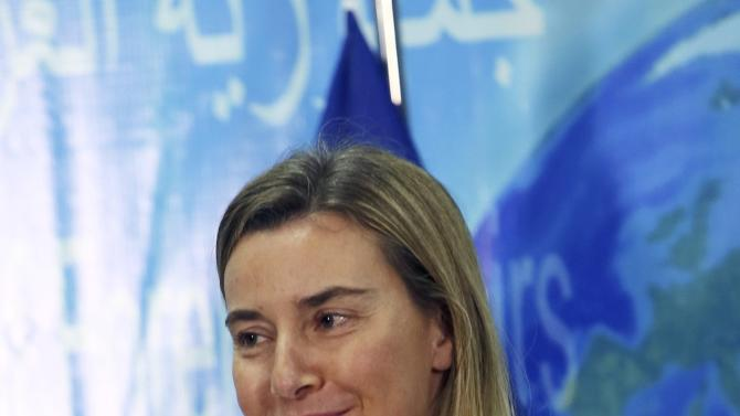 EU Foreign Policy Chief Mogherini speaks during a joint news conference in Baghdad