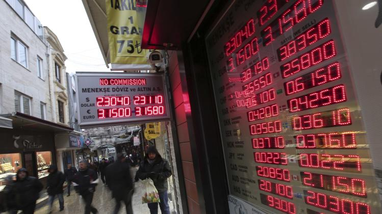 Jan. 28, 2014 photo, people walk by an electric board showing currency