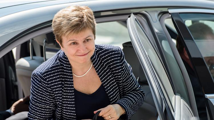 European Commissioner for International Cooperation, Humanitarian Aid and Crisis Response Kristalina Georgieva arrives for an EU foreign ministers meeting at the Kirchberg Conference Center in Luxembourg, Monday, April 22, 2013. (AP Photo/Geert Vanden Wijngaert)