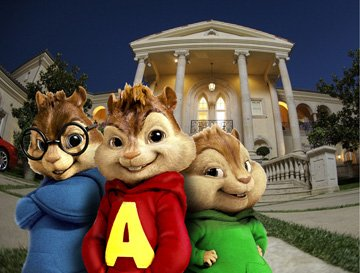 Simon (voiced by Matthew Gray Gubler ), Alvin (voiced by Justin Long ) and Theodore (voiced by Jesse McCartney ) in 20th Century Fox's Alvin and the Chipmunks
