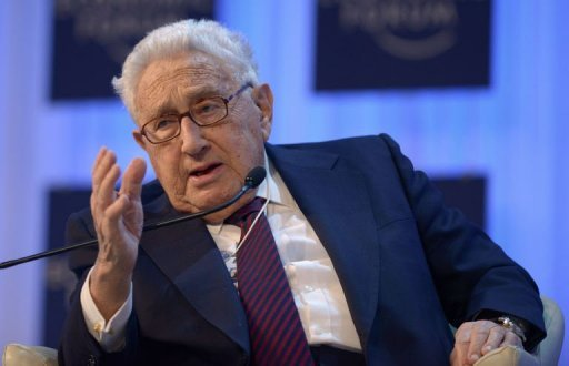 "Former US secretary of state Henry Kissinger attends a session of the World Economic Forum on January 24, 2013, at the Swiss resort of Davos. Israeli officials said Thursday that military action against Iran needed to stay on the table, as Kissinger warned of a crisis over Tehran's nuclear ambitions in the ""very foreseeable future"""