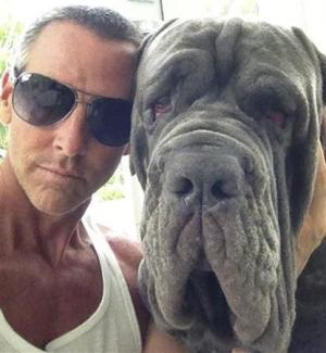 Michael Jarboe and his 2.5 year old Mastiff BamBam are pictured in this undated handout photo