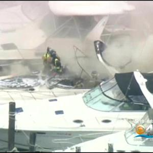 Fire Destroys Boat Docked On Miami River