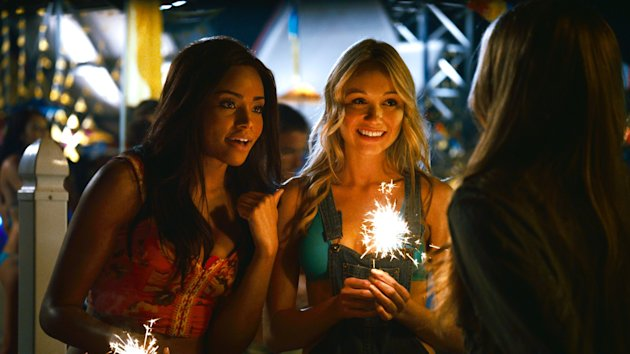 "This film image released by The Weinstein Company shows Meagan Tandy, left, and Katrina Bowden in a scene from ""Piranha 3DD."" (AP Photo/The Weinstein Company)"
