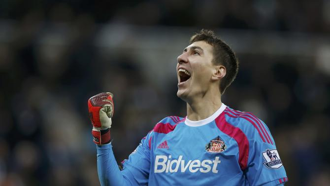 Sunderland's Costel Pantilimon celebrates after their English Premier League soccer match against Newcastle at St James' Park in Newcastle