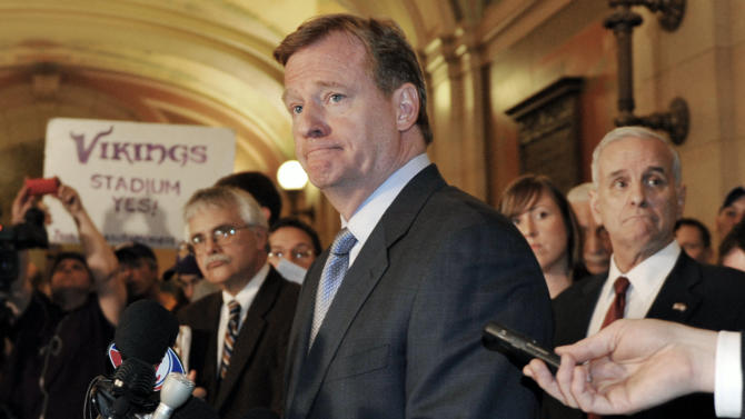 NFL  Commisioner Roger Goodell listens to a question during a media briefing at the State Capitol Friday, April 20, 2012, in St. Paul, Minn., after Goodell met with the governor and state lawmakers in an effort to get a bill passed for a new Minnesota Vikings NFL football stadium. (AP Photo/Jim Mone)