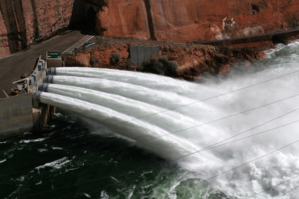 View from top of Glen Canyon Dam of jet tubes during the 2008 flood test.