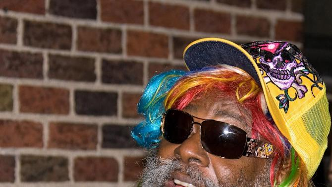 """FILE - In this Monday, Oct. 27, 2008 file photo, musician George Clinton arrives for a taping of the """"Late Show with David Letterman,"""" in New York. Clinton and the Black Eyed Peas have settled a federal lawsuit in which the funk pioneer claimed the pop group used his music without proper permission. The settlement announcement on May 14, 2012, came a few weeks before the two sides were to go to trial, but after a judge limited the amount of damages Clinton would have been eligible to receive. (AP Photo/Charles Sykes, File)"""