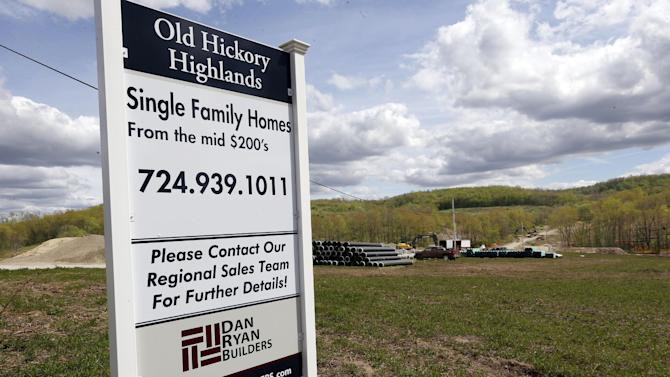 In this Monday, May 6, 2013 photo, construction is underway on the infrastructure of a multi-acre housing development in Zelienople, Pa. For the first time in seven years, most U.S. homebuilders are optimistic about home sales, a sign that construction could help drive stronger economic growth in coming months, according to reports Monday, June 17, 2013. (AP Photo/Keith Srakocic)