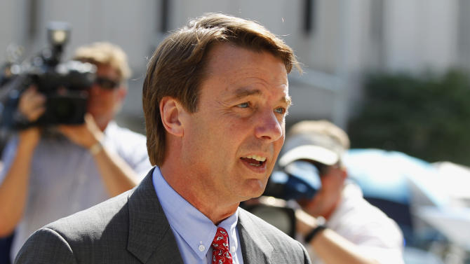 John Edwards arrives at a federal courthouse during the eighth day of jury deliberations in his trial on charges of campaign corruption in Greensboro, N.C., Wednesday, May 30, 2012. Edwards has pleaded not guilty to six counts related to campaign finance violations over nearly $1 million from two wealthy donors used to help hide the Democrat's pregnant mistress as he sought the White House in 2008. (AP Photo/Chuck Burton)