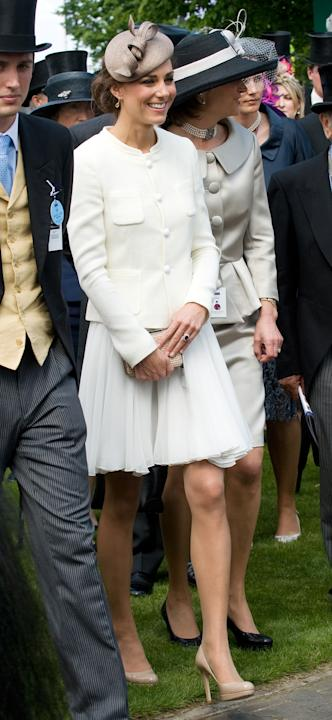 On a royal outing at the Derby last month, pantyhose and all