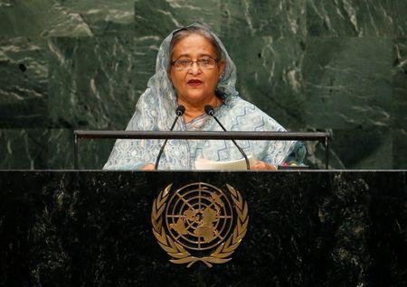 Prime Minister Sheikh Hasina of Bangladesh addresses attendees during the 70th session of the United Nations General Assembly at the U.N. headquarters in New York