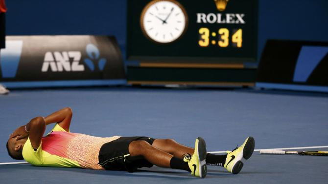Nick Kyrgios of Australia celebrates after defeating Andreas Seppi of Italy in their men's singles fourth round match at the Australian Open 2015 tennis tournament in Melbourne
