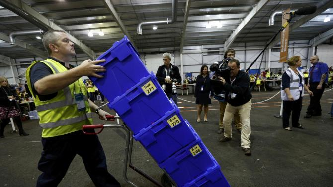 The first non-postal votes arrive at a counting centre in Ingliston in Edinburgh, Scotland