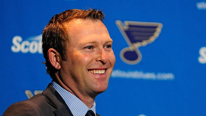 Martin Brodeur of the St. Louis Blues, pictured during a press conference to announce his retirement, at Scottrade Center in St. Louis, Missouri, on January 29, 2015