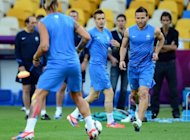 French midfielder Yohan Cabaye (R) during a team training session on June 18. France are looking to get the result they need against already eliminated Sweden in their Euro 2012 Group D match on Tuesday