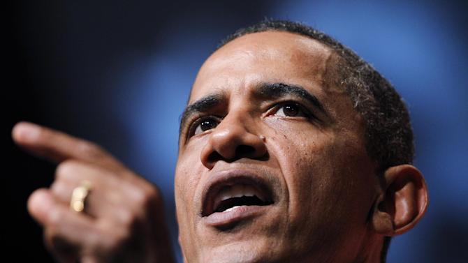 President Barack Obama delivers his remarks at the Congressional Black Caucus Foundation's Annual Phoenix Awards in Washington Saturday Sept. 24, 2011. (AP Photo/Manuel Balce Ceneta)