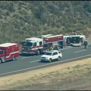 Chopper 8 Raw Video: Driver rescued after rollover crash on I-8