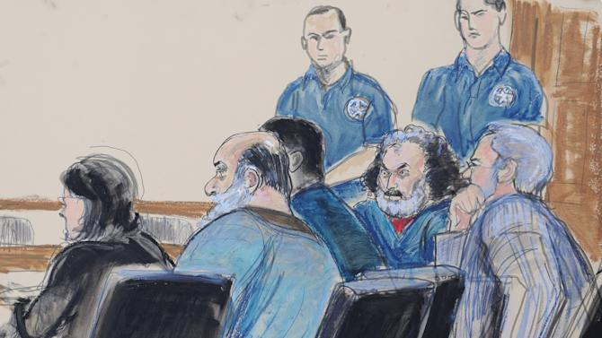 In this courtroom drawing, seated from left, defense attorney Sabrina Shroff, defendants Kahlid al-Fawwaz and Adel Abdul Bary and attorney Andrew Patel appear before a judge in Manhattan federal court in New York on Saturday, Oct. 6, 2012. Al-Fawwaz and Bary pleaded not guilty to charges that they provided terrorists in Afghanistan and Chechnya with cash, recruits and equipment. Five terrorism suspects appeared in federal courts Saturday, hours after they lost years long extradition fights in Britain and were transported to the U.S. under tight security to face trial. (AP Photo/Elizabeth Williams)