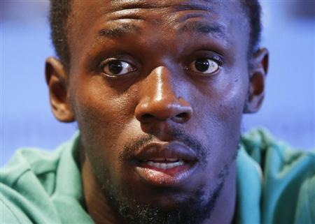 Jamaican sprinter Bolt addresses a news conference ahead of the IAAF Diamond League athletics meeting, also known as Memorial Van Damme, in Brussels