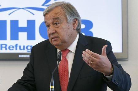 Guterres UN High Commissioner for Refugees holds news conference on refugee crisis in Europe at UNHCR headquarters in Geneva