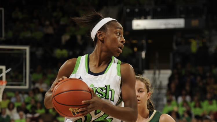 Notre Dame guard Jewell Loyd, left passes the ball as Baylor guard MacKenzie Robertson defends during first-half NCAA college basketball  game action on Wednesday, Dec. 4, 2012, in South Bend, Ind. (AP Photo/Joe Raymond)