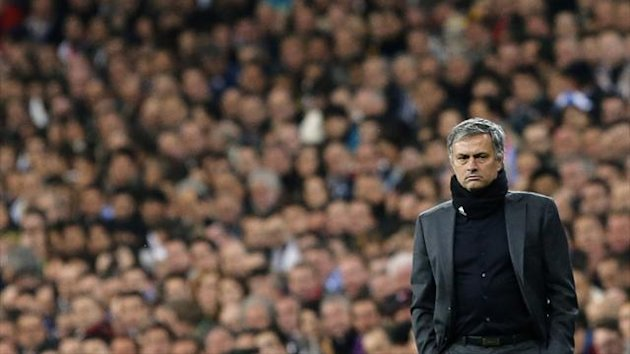 Real Madrid coach Jose Mourinho during the Champions League round of 16 first leg against Manchester United FC at the Bernabeu (AFP)