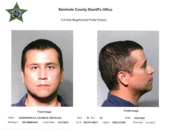 In this handout composite provided by the Seminole County Sheriff's Office, George Zimmerman poses for a mugshot photo following his surrender to authorities at John E. Polk Correctional Facility (JEP