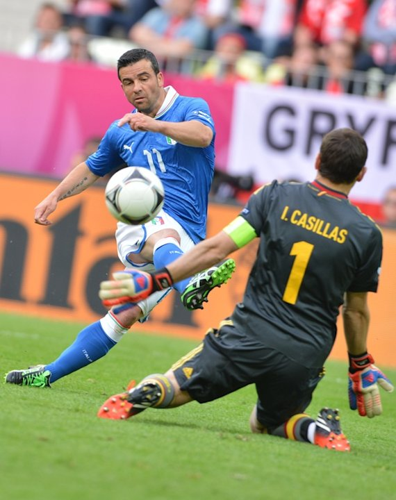 TOPSHOTSItalian Forward Antonio Di Natale (L) Scores Past Spanish Goalkeeper Iker Casillas AFP/Getty Images