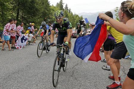 Movistar team rider Valverde of Spain cycles to Risoul in the Alps mountains during the 177-km fourteenth stage of the Tour de France cycling race