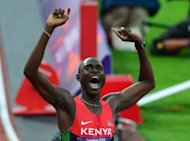 Kenya's David Rudisha celebrates after winning the men's 800 final at the athletics event during the London 2012 Olympic Games on August 9, 2012 in London in world record time