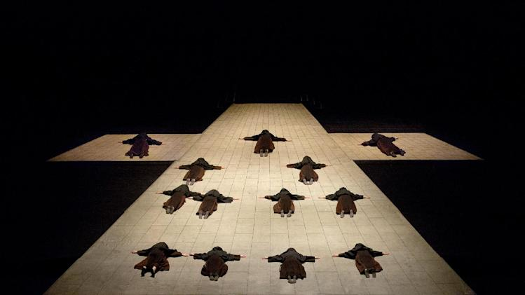 "This April 24, 2013 photo provided by the Metropolitan Opera shows the opening scene in Poulenc's ""Dialogues des Carmélites,"" during a dress rehearsal at the Metropolitan Opera in New York. (AP Photo/Ken Howard)"