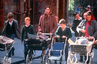 Agnes ( Anjelica Huston ) with the boys in USA Films' Agnes Browne