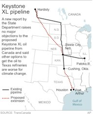 Map shows existing and proposed extension of Keystone XL pipeline