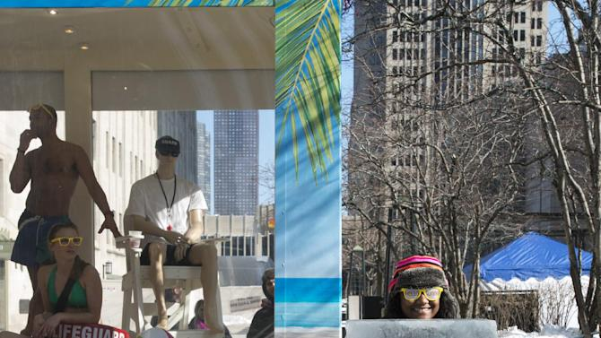 IMAGE DISTRIBUTED FOR GREATER FORT LAUDERDALE - Beautiful in blue as the Greater Fort Lauderdale Convention & Visitors Bureau says goodbye chilly, Hello Sunny today on Michigan Avenue in Chicago with their Hello Sunny campaign, Wednesday Feb. 6, 2013. The CVB's promotion encourages Chicagoans and the nation to enjoy the warm Greater Fort Lauderdale sunshine. Visit www.sunny.org/defrost for a chance to win a Fort Lauderdale beach getaway. (Peter Barreras/Invision for Greater Fort Lauderdale/AP Images)