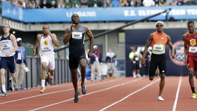 LaShawn Merritt competes in the men's 400m finals at the U.S. Olympic Track and Field Trials Sunday, June 24, 2012, in Eugene, Ore. (AP Photo/Eric Gay)
