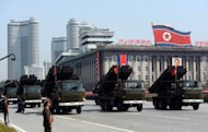 "Mutliple launch rocket systems are displayed during a military parade to mark 100 years since the birth of the country's founder Kim Il-Sung in Pyongyang in April 2012. North Korea on Friday vowed to expand and modernise its nuclear deterrent ""beyond imagination"" unless the United States changes its policy towards the communist nation"