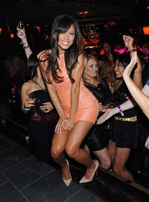 Vanessa Minnillo dances at her bachelorette party at LAVO in Las Vegas on June 17, 2011 -- David Becker/WIRE Image