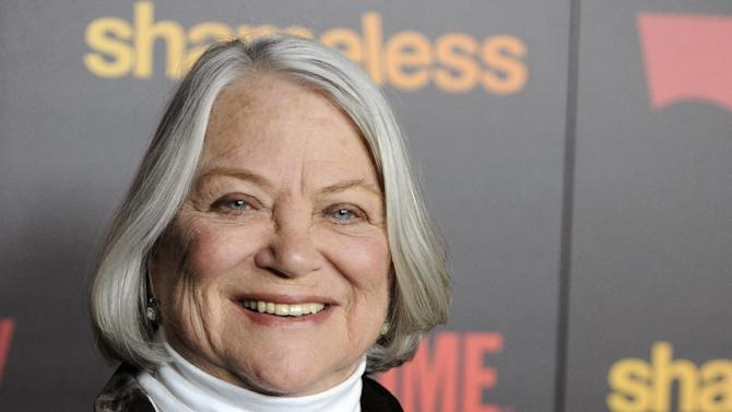 """FILE - In this Jan. 5, 2012 file photo, Louise Fletcher, a cast member in """"Shameless,"""" poses at the premiere of the second season of the Showtime television series, in Los Angeles. Fletcher says she's no longer able to watch the movie """"One Flew Over the Cuckoo's Nest"""" because the character she won an Oscar for, Nurse Ratched, is so cruel. Fletcher will be in Salem, Ore., on Saturday for the opening of a museum of mental health at the rebuilt Oregon State Hospital, where the 1975 movie was filmed in 1975. (AP Photo/Chris Pizzello, File)"""