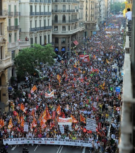 A demonstration against economic crisis measures takes place in Barcelona