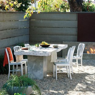 Before: Salvaged pavement, After: Outdoor tabletop