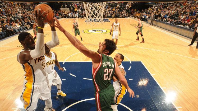 Roy Hibbert leads Pacers past Bucks, 101-96