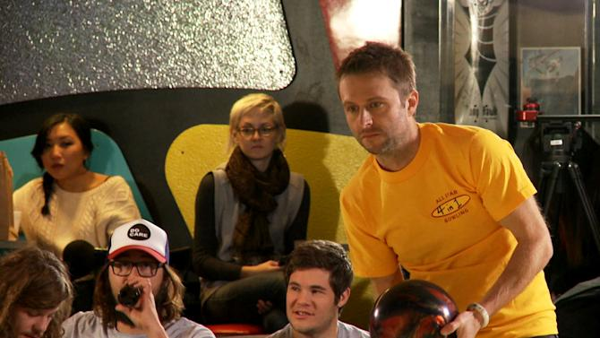"""This undated image released by the Nerdist Channel shows Chris Hardwick competing in """"All Star Celebrity Bowling."""" Nerdist began as a little weekly comedy podcast hosted by Hardwick and launched in 2010. It has grown to encompass a network of 21 podcasts, 27 YouTube shows and a growing TV presence.  (AP Photo/Nerdist Channel)"""