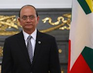 Myanmar&#39;s President Thein Sein, pictured in April 2012, is set to head to the United States on Monday for a landmark visit that coincides with a triumphal American tour by opposition leader Aung San Suu Kyi
