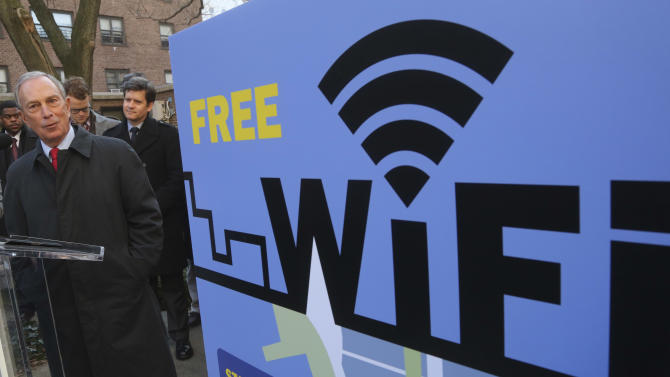 New York City Mayor Michael Bloomberg speaks during a news conference, Tuesday, Jan. 8, 2013 in New York. Google and The Chelsea Improvement Company say they'll provide free public Wi-Fi in Manhattan's southwest Chelsea neighborhood. (AP Photo/Mary Altaffer)