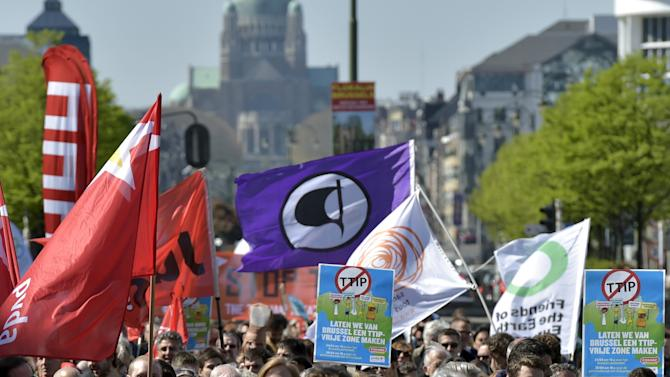 Consumer rights activists hold banners and flags as they protest against the TTIP during a demonstration in Brussels