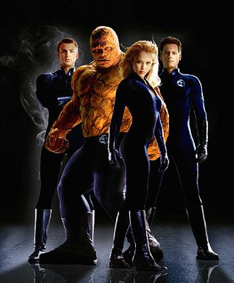 Chris Evans as the Human Torch, Michael Chiklis as The Thing, Jessica Alba as the Invisible Woman and Ioan Gruffudd as Mr. Fantastic in 20th Century Fox's Fantastic Four